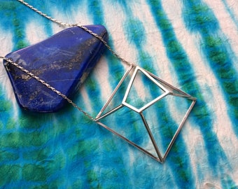 One of a Kind Geometric Sterling Silver Cube Cage Necklace