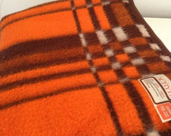 Retro blanket vintage blanket acrylic blanket 1960 1970s blanket check vintage blanket