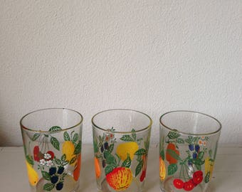 Vintage lemonade glass 3 x floral and fruity