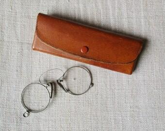 Antique eye glasses, Victorian spectacles, Vintage, Original leather case, 1900, Lorgnons, Lunettes, Etui cuir