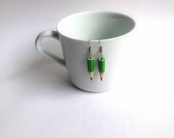 Green Pencil Earrings , Pencil Jewelry , Long Earrings , Gift for Student , Graduation Gift , Teacher Gift, Teacher Earrings