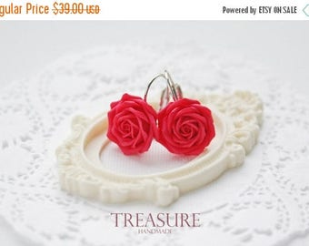 SALE Red rose earrings, red roses earrings, red flower earrings, red floral earrings, red earrings, red flowers, rouge, rosa, red roses, red
