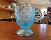 Vintage Creamer Aqua Glass with Stars
