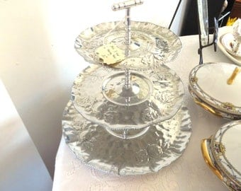 3 Tier Aluminum Cupcake, Hors D'Oeuvres Server, Party Tray - 1960s
