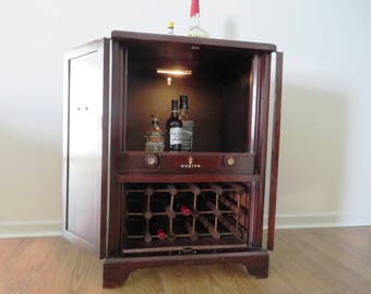 Reclaimed TV Cabinet Hidden Liquor Cabinet Bar Wine Rack PICK UP Only   No  Shipping