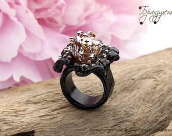 Iris black and gold - ring glass flower lampwork Beads artisan