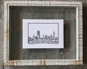 Boston Massachusetts Skyline - Elle Karel Illustration