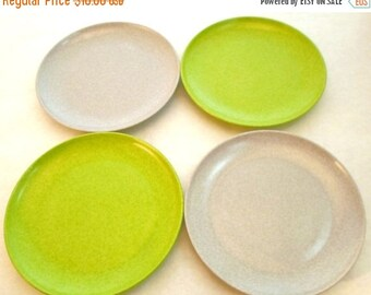 """ON SALE Vintage Branchell Kaye LaMoyne Melmac 6"""" Small Plates Set of 4 Lime Green and Gray 1950s Shabby Chic Cottage Chic"""