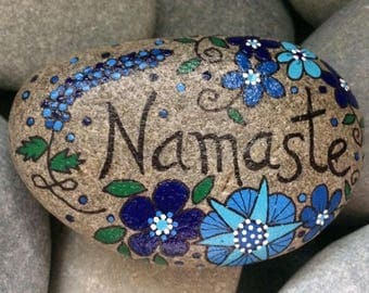 Happy Rock - NAMASTE - Hand-Painted Beach River Rock Stone - blue flowers peace love starshine viola violet lupine hyacinth