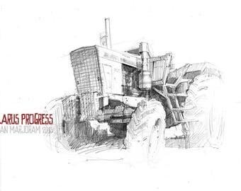 Belarus Progress Tractor - Original A4 Pencil Sketch