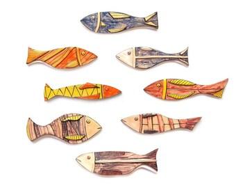 Colorful Ceramic Fish, Set of 8, Pottery Fish, Wall art fish, Ceramic fish, Beach house decor, Art fish, Fish decor art, Wall art ceramics
