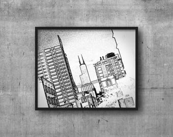 Chicago photography art print - Sears Tower sketch outline