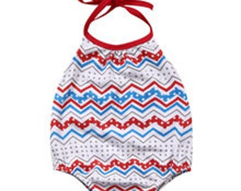 Patriotic, 4th of July red, white, blue  Baby Girl Romper