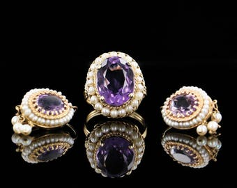 Beautiful, Antique, Amethyst, Seed Pearl, 14k, Yellow Gold, Ring and Earring Set