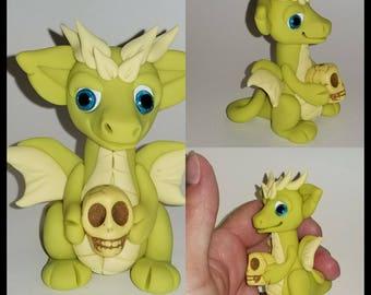 Polymer clay skull dragon