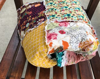 Bohemian rag quilt, lap quilt, ready to ship.  Cotton anniversary gift, modern rag quilt, couch rag quilt, throw quilt