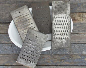 Vintage Graters, Three Metal Graters, Soap Grater, Cheese Graters, Potato Shredders, Rustic Kitchen, Farmhouse Kitchen