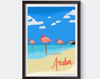 Aruba Flamingo Beach Travel Print