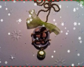 Chocolate Christmas ref 65 plate pendant necklace