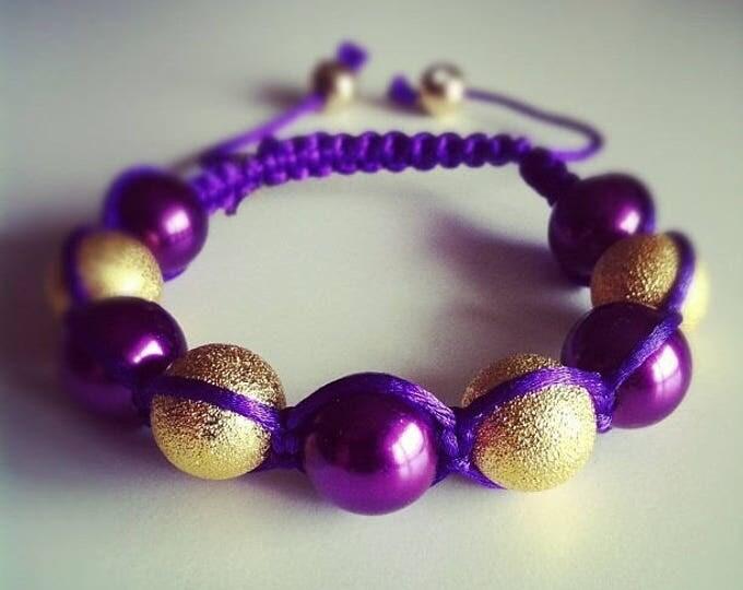 Shamballa bracelet adjustable purple and gold #43