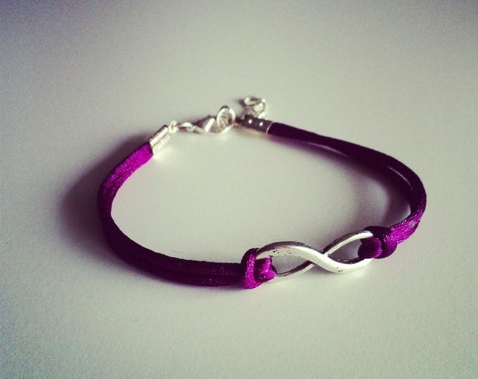 Bracelet large cord with Infinity sign ONE purple