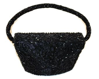 Vintage Black Evening Bag - Black Evening Bag, Bugle Beaded Basket Style Evening Bag, Mid Century Black Beaded Evening Bag