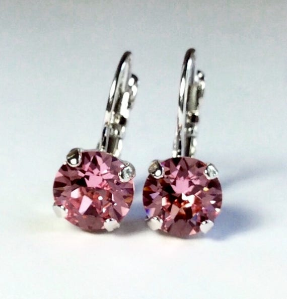 Swarovski Crystal 8.5mm Lever- Back Drop Earrings - Classy - Lt. Rose - OR Choose Your Favorite Color and Finish -  FREE SHIPPING