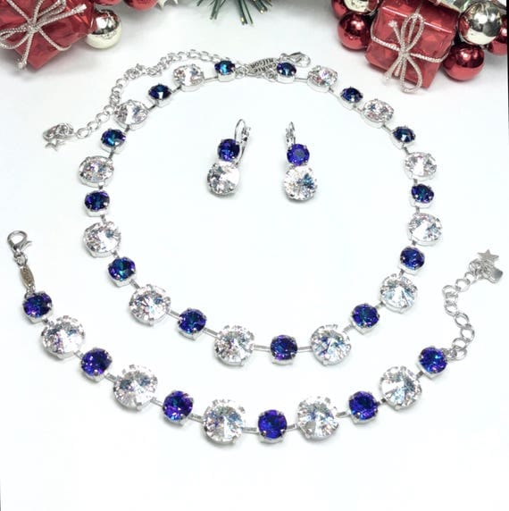 "Swarovski Crystal 12MM / 8.5mm Necklace, Bracelet, Earrings  - "" Diana"" -  Stunning Crystal  White Patina & Heliotrope- FREE SHIPPING"