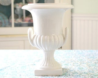 ITALIAN URN, Vintage Ivory Urn/Vase, Shabby Chic, Cottage Style, Made in Italy, Vintage Inspired Wedding by Este Ceramiche Porcellane