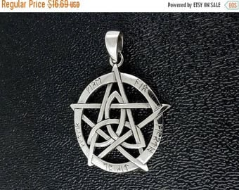 ON SALE Sterling Silver Pentagram Tiquetra Pendant Wiccan Pagan