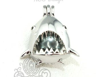 Toothy Great White Shark Pearl Cage Necklace Shark Mouth Teeth Fins Silver Plated Locket Charm Sharks