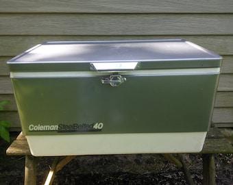 Vintage Coleman Cooler - Coleman SteelBelted 40 Quart Cooler - Vintage Camping - Coleman Cooler - Coleman Steel Belted