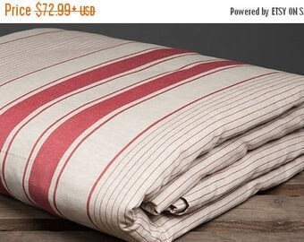 15%SALE Gray-red striped linen duvet cover, linen bedding, king, queen size, natural fabric bedding