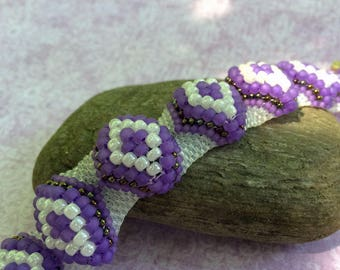 Purple Bead Bracelet Bead Woven Bracelet Peyote Bead Bracelet Purple Beaded Cuff Beadwork Bracelet Peyote Bracelet Beaded Bracelet