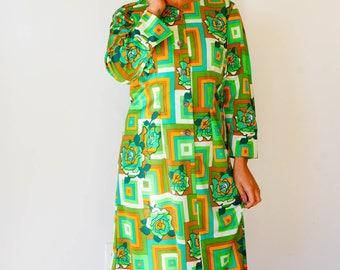 Free Shipping! Vintage Retro Print Dress Size M, Vintage Japanese Dress, 1980s Dress, Vintage Clothing, Floral Dress, Retro Clothing