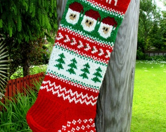 Christmas stocking Personalized Wool Hand knit Cranberry Red Red Green Gray White  Santa  Trees Christmas decoration