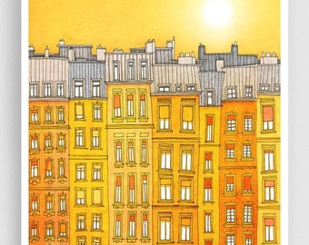 30% OFF SALE: Yellow facade - Paris illustration Art Print Poster Home decor Wall decor Gift ideas for her Modern Living room decor Paris ho