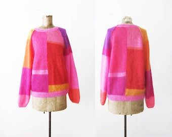 Mohair Sweater - Colorblock Sweater - Pink Color Block 80s Pullover Sweater - Colorful Knit Jumper - Rainbow Sweater - 80s Sweater