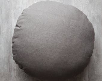 round linen pillow. Circle shape pillow with insert. 22 inch diameter sized accent pillow suitable for meditation.