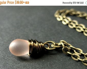 SUMMER SALE Teardrop Necklace. Frosted Pink Teardrop Necklace in Bronze. Bridesmaid Necklace. Handmade Jewelry.