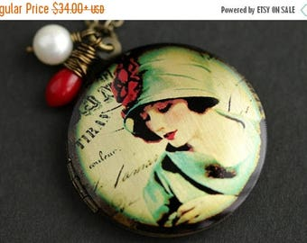 VALENTINE SALE 1920s Woman Locket Necklace. Vintage Lady Necklace with Red Coral Teardrop and Fresh Water Pearl. Bronze Locket. Photo Locket