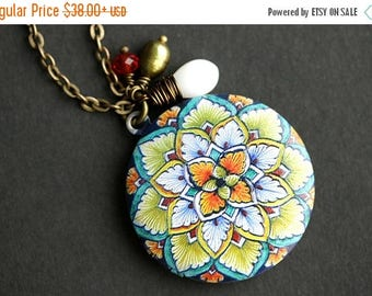 VALENTINE SALE Leaf Mandala Locket Necklace. Green Leaf Mandala Necklace with White Coral Teardrop and Fresh Water Pearl Charms. Orange and