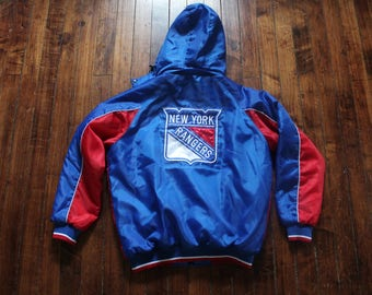 New York Rangers hooded winter jacket NHL hockey coat Large