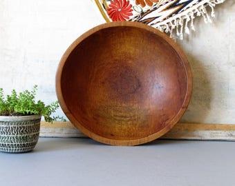 Vintage wooden dough bowl, wooden farmhouse bowl, rustic wood bowl, salad bowl, cottage chic decor