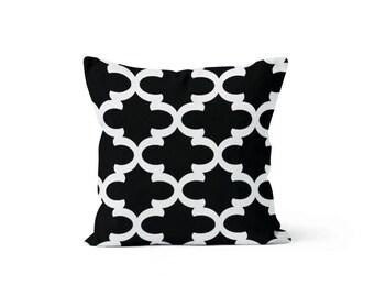 Black Moroccan Quatrefoil Pillow Cover Lattice Trellis - Fynn Black - Many Sizes Lumbar, 12, 14, 16 - Zipper Closure - sc246l