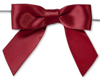"""Scarlett 3"""" Pre-Tied Satin Bows with 5"""" Twist Ties~ 7/8"""" ribbon- Pack of 6"""