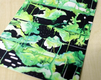 5 x postcard set / postcards / cards / Void Gardens / garden art cards / space art / beautiful greeting cards / black and green / plant life