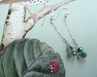 Jewellery, Earrings, Dangle & Drop, Bridal Earrings, Sterling Earrings, Bead Chain Earrings, Green Earrings, Green Crystal Earrings, Long