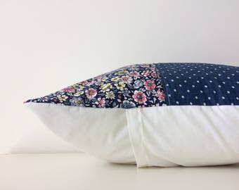 Modern Country Patchwork Pillow Cover, Shabby Chic, Blues, Floral,, Designer Fabric, Polka Dots, Colour Pattern Block, Flowers, Girls Room