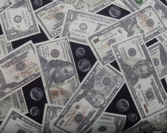 Money Fabric, Cash Quilting Cotton, Dollars & Coins Fabric, USA Money, Woven Cotton, By the Half Yard